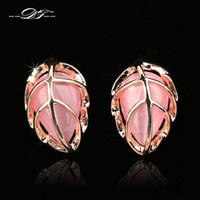 Wholesale 2014 New Leaf Shape Opal Stone Vintage Party Stud Earrings K Rose Gold Plated Imitation Gemstone Wedding Jewelry For Women