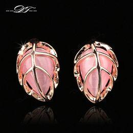 New Leaf Shape Opal Stone Vintage Party Stud Earrings 18K Rose Gold Plated Imitation Gemstone Wedding Jewelry For Women
