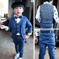 western suits - New Arrival Kids Suits Hot Sale Boy Suits Western Style Clothes Three Piece Suits Gentry Murua Trousers Suits