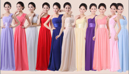 Wholesale Long Shirts Gowns - 2015 Cheap New A Line one shoulder floor length chiffon wedding bridesmaid dresses prom party gown 11 color 6size and Custom