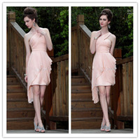 Reference Images Chiffon One-Shoulder Cheap Pink Homecoming Dresses Zipper One-Shoulder Vogue Cocktail Dresses Sweetheart Neck Party Gowns Sexy Knee-Length Chiffon Formal HD064