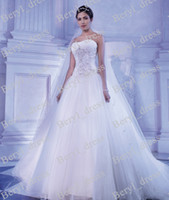 A-Line Reference Images Sweetheart Sequined A line Wedding Dresses 2014 Demetrios Tulle Skirt with Sweetheart Backless Bridal Gown Vintage Plus size Wedding Gowns Hot Sale