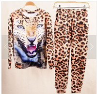 Women Pullover Long Sleeve New Fashion 3D Lion Leopard Tiger Printed Sweat Hoodie Tops Suits For Women Lady