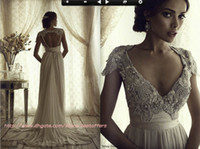beach portrait dresses - Cap sleeves wedding dress with beading fitted on the skirt Anna campbell gossamer bridal vintage sylvia summer chiffon bridal gowns