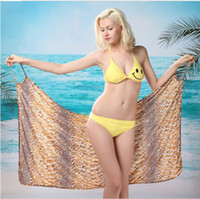 Wholesale Beach Scarf Sarong Gold Snake Pattern For Lady Summer Cheap Free Shpping S9LJH