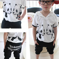 Cute Boys Clothing Sets Baby Set Cartoon Panda Printing Leis...