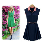Casual Dresses Strapless A Line Skirts Womens New Fashion vestidos Vintage Clothes Women Dress Pocket Decoration Knee-length Pleated Lady one piece Navy dress