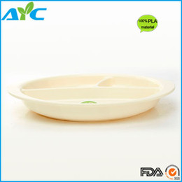 Wholesale Super Cheap PLA Corn Materials Oval Partition Dinner Plate Kitchen