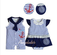 baby sleepsuits - New Arrival Kids Jumpsuit Hot Sale Children Rompers Lovely Navy Style Jumpsuits Baby Sleepsuits