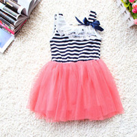 Wholesale Fedex DHL EMS Ship Lowest Price new summer girls tutu dresses girls sleeveless lace dresses girls strip bow tutu skirts dresses T Melee