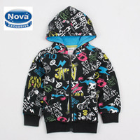 Jackets Boy Spring / Autumn A3181# Black Nova Kids Wear Clothing Baby Boys Winter Sweatshirts Graffiti Printing Fleece Hooded Hoodies Boys Jacket Cool Hot Selling cute