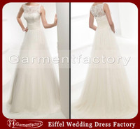 Wholesale Simple Ivory Lace Top Tulle Wedding Dresses High Neck A line Brush Train Wedding Dress Bridal Gown