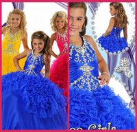 Model Pictures Girl crystal 2014 Pageant V Neck Ball Gowns Floor Length Crystal Ankle Length Ruffle Royal Blue Lace Up Little Girls Pageant Gowns Cheap Gowns