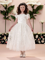 Reference Images Girl Lace The Newest Pretty Lace Sleeveless A-line Short Sleeve Jewel Princess Flower Girls' Dresses Ankle Length Zipper Back Girl Party Ball Gown
