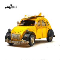 Metal   Vintage Metal Handmade Craft Yellow Station Wagon Car Mold Photography Props Bar Decoration 1004a-3030