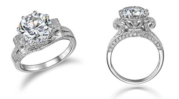 Increíble lujo de la joyería 3 Ct SONA diamante sintético Anillo de compromiso 925 oro blanco