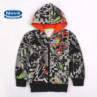 Jackets Boy Spring / Autumn A3193# Black Nova Kids Wear Clothing Baby Boys Winter Sweatshirts Graffiti Printing Fleece Hooded Hoodies Boy Jacket CrossBones Printed cool