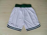 Wholesale Top Quality Revolution Swingman Men s Basketball Shorts Celtics Shorts White Green Embroidery Logo Mix Order