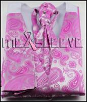Precio de Lazo formal de color rosa-Wedding el desgaste formal rosado paisley tcoat (waistcoat + ascot tie + cufflinks + pañuelo)