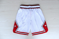 Wholesale Top Quality Revolution Swingman Men s Basketball Shorts Bulls Shorts Red White Black Embroidery Logo Mix Order