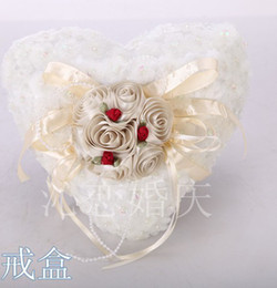 Wholesale New Style White Pink Purple Crystal Heart Satin Lace Bearer Ring Pillow Flower Pillows Bridal Beaded Wedding Favors Box