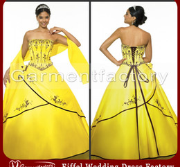 Wholesale Quinceanera Dresses New Style Strapless Embroideried Lace up Yellow Satin Prom Dress Ball Gown