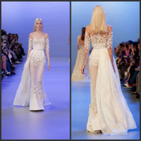 elie saab dress - Elie Saab Couture Spring Sheer Illusion Sheath Prom Dresses Jewel Belt Beaded Tulle Long Sleeve Evening Pageant Dresses with Flowers