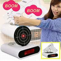Wholesale Amazing Lazy Laser Target Desk Shooting Gun Alarm Clock Cool Tech Gadget Toy Novelty with Red LED Backlight with retail package
