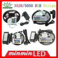 Wholesale m roll SMD RGB Waterproof LED Flexible degrees Led Light Strip key key IR Remote A A A Power Supply