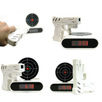 Wholesale new Amazing Lazy Laser Target Desk Shooting Gun Alarm Clock Cool Tech Gadget Toy Novelty with Red LED Backlight