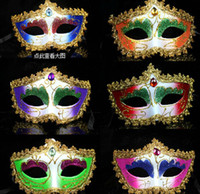 April Fool's Day colored rhinestones - Lady Colored Drawing Rhinestone Venetian Masquerade Sexy Women Golden Dust Print Mask Half Face Masks Party Performance D2317