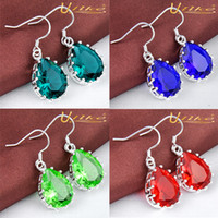 Wholesale mix color sterling Silver water drop shaped fantasy eardrop
