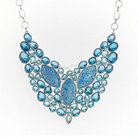 Wholesale Huge blue heart TOPAZ Quartz Sea bed stone Charm Jewelry Silver Necklace NL
