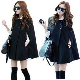 Wholesale Korean Women Ladies Batwing Wool Oversized Casual Poncho Winter Coat Jacket Loose Cloak Cape Outwear Black S