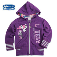 Wholesale F3033 Children Winter Coats Baby Girls French Terry Purple Zipper Hooded Jacket Sweat Tops Embroidery Lovely Cute Jacket Full Cotton Stripe
