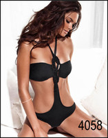 Wholesale Ladies Swimwear Women Swimsuit Bekinis Sexy Clothing Store One Piece Black Blue Halter Sexy Bikini