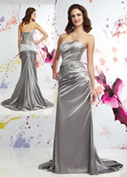Wholesale 2015 New Hot Prom Dress Cheap Silver Satin Strapless Evening Dress Blink Sequins Mermaid Bridesmaid Dress