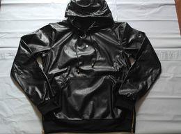 Wholesale Fashion Full Snakeskin Faux PU Leather Long Sleeve Men Hoodies Streetwear Hip hop Python Leather Zipper Side Slim Men Pullover M XL