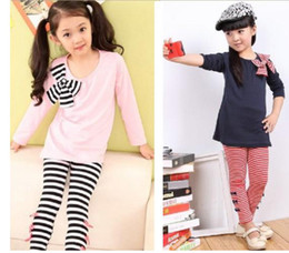 Wholesale Retail new Autumn and winter children girl longth sleeve T shirt Bow tight pants girl suit clothing