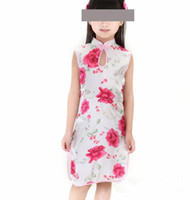 Wholesale Retail on sale Promotion New dress girls imitated silk fabric rose children cheongsam for girls Water droplets collar GQ