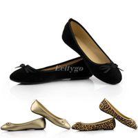 Wholesale 2014 New Ladies Womens Bow Designer Design Shoes Flat Ballerina Flats Dolly Pumps Black Leopard Gold Size Ex31