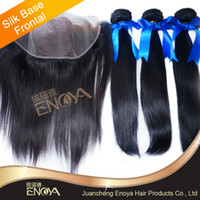 """Brazilian Hair Natural Color Straight Brazilian Virgin Hair 5A grade free style silk base Lace Frontal Closure 13x4"""" with 3pcs silky straight hair 4pc lot"""