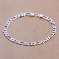 Cheap European bracelet Men's charms 925 silver bracelet fashion jewelry 6mm Flat Bracelet H219 gift bag free shipping