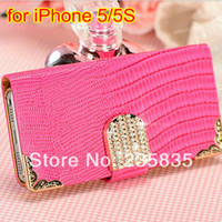 For Apple iPhone Leather White Luxury Wallet Shining Crystal Bling PU Leather Case For iPhone 5 5S 4 4S New Mobile Phone Bags Rhinestone Cover Free Flim