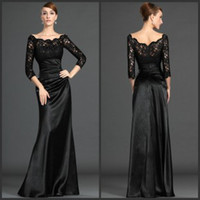 Wholesale 2014 Modern Bateau long Sleeve Evening Dresses Formal Gown Ruffled Satin Floor Length Black Lace Mother of the Bride Dresses Cheap