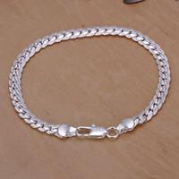 Cheap European bracelet Men's charms 925 silver bracelet fashion jewelry 5mm Flat Bracelet H199 gift bag free shipping