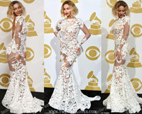 Wholesale Sexy Beyonce Mermaid Backless Long Sleeve See Through White Lace Grammy Awards Celebrity Dresses Evening Dresses HS7461
