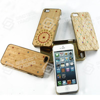 For Apple iPhone natural diamond - New Luxury Genuine Natural Bamboo Wood handmade Hand Carved Wooden Phone Hard Case Cover Shell with diamond for iPhone S S