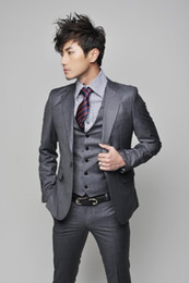 Slim Fit One Button Groom Tuxedos Charcoal Grey Best man Notch Lapel Groomsman Men Wedding Suits Bridegroom (Jacket+Pants+Tie+Vest) J279