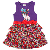 Wholesale H4789 Nova m y cute baby girls floral cupcake dresses lovely dog print princess vest dress bow sleeveless purple summer tank tops